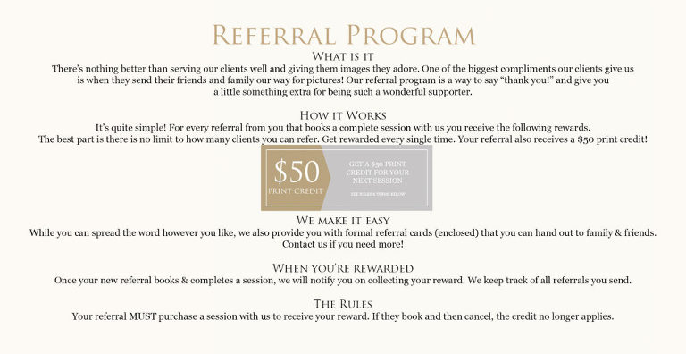 referral program, buffalo photographer
